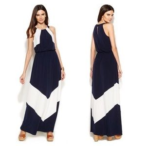 Vince Camuto colorblock halter maxi dress